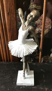 "10.5"" Tall Vintage Ballerina Figure. Resin. Faux Bronze."