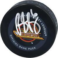 Brock Boeser Canucks Signed Black Skate Throwback Logo Official Game Puck