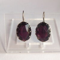 Plum Color Large Stones Earrings  Solid Silver 875 soviet star  Russian Vintage