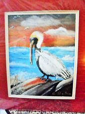 "Original Painting direct from artist: "" The Pelican"" 9x12 . On Canvas and signed"