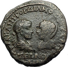 GORDIAN III & TRANQUILLINA Ancient Anchialus Thrace Roman Coin TYCHE i71105