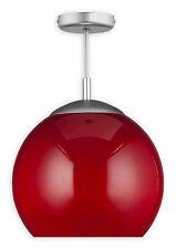 MODERN BALL SEMI FLUSH CEILING LIGHT RED 30cm - SILVER SATIN AND GLASS FINISH