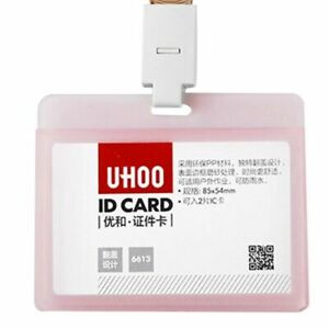 Durable Pack of Hard Plastic ID Card Badge Holder Horizontal Employee Name Tag @