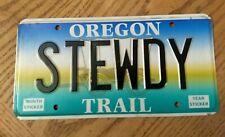 STUDEBAKER / Oregon / Oregon trail / vanity license plate STEWDY