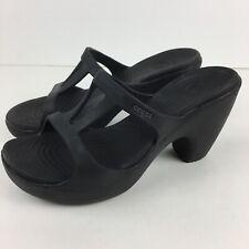 Crocs Black Heels Sandals Shoes 8 Slide Comfortable Open Toe