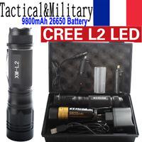 90000LM USB Police CREE XML L2 LED Militaires lampes de poche la tactique torche