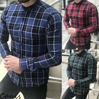 Fashion Men's Summer Casual Dress Shirt Mens Plaid Long Sleeve Shirts Tops Tee