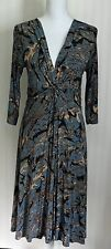Women's Rayon 3/4 Sleeve Knee length Twist front dress by Dunia size medium