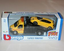 RENAULT CLIO With Flatbed TRANSPORTER Bburago Die Cast Metal Model 1 43