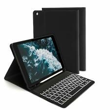 For iPad 10.2 Case 2019 Bluetooth Keyboard Cover Adjustable Viewing Angles Black