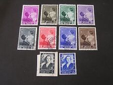 *BELGIUM, SCOTT # B190-B196(8)+B197/B198(2),1937 SEMI POSTAL ROYALS ISSUE USED
