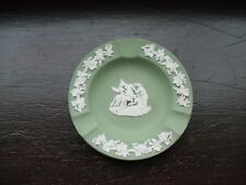 """Vintage Wedgwood Green Jasperware Ashtray with Horse & Angel, Size, Stamped """"GW"""""""