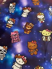 "100% Cotton Woven Custom Hello Kitty Star Wars 18""X 58"" In Stock 1/2 Yard"