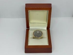18ct Yellow Gold 1.0ct Moissanite Cluster Ring Size R 1/2