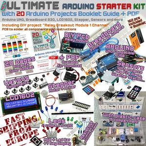 NEW! ULTIMATE Arduino UNO 20 PROJECTS Starter Kit Breadboard LCD Sensors from EU