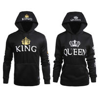 Fashion Matching Couple Hoodies King and Queen Couple Sweatshirt Pullover Coat