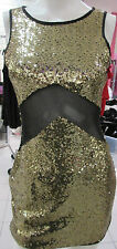 Dress Large Gold Metallic Sequins Semi Sheer Peek-a-boo Waist Sexy NWT BR 114