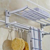 New Wall Mounted Bathroom Towel Rail Holder Storage Home Double Rack Shelf
