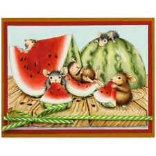 HOUSE MOUSE Summer Snacking Wood Mounted Rubber Stamp STAMPENDOUS HMR104 New