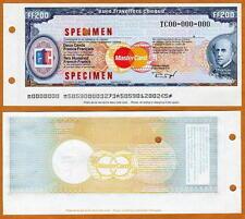 France SPECIMEN Travelers Check 200 Francs Pre-Euro UNC