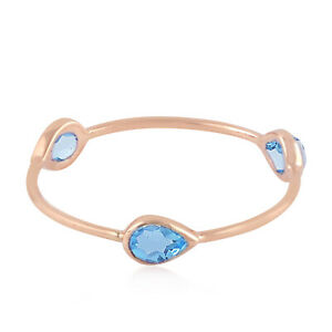 0.55ct Blue Topaz Stackable Band Ring 18k Rose Gold Fine Jewelry US-7