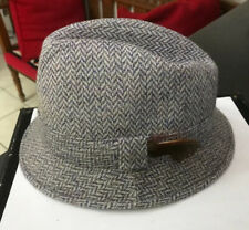 CRAFTCENTRE CYMRU BLUE GREY WOOL TWEED HAT TRILBY COUNTRY HERRINGBONE DOG TOOTH
