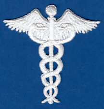 CADUCEUS, WHITE - MEDICAL- PROFESSION - DOCTOR - NURSE-Iron On Embroidered Patch