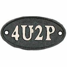 4U2P Toilet Bathroom Cast Iron Sign Plaque Door Wall House Work Office Shop