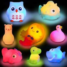 Bath Toys Set 8 Pcs Light Up Floating Rubber Animals Color Changing Baby Toddler