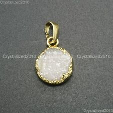 Natural Druzy Quartz Agate Round Pendant Charm Necklace Healing Beads 18K Gold