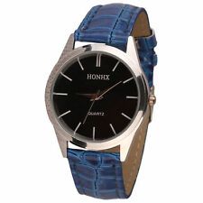 Ladies Fashion Silver HONHX Quartz Black Face Blue Band Wrist Watch.(Aussie)