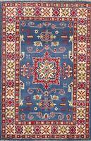 3x5 Blue Geometric Super Kazak Oriental Area Rug Hand-Knotted Wool Carpet