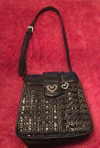 Vintage Brighton Bag Woven Brown and Black Leather Shoulder Purse