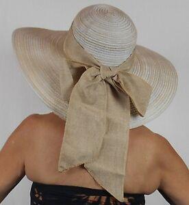 "BEACH HAT SUN HAT SUN N' SAND Poly Braid UPF Protection 5"" BRIM BOW Palm Tree"