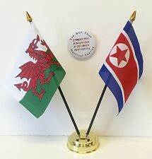 Wales & North Korea Double Friendship Table Flags & Badge Set