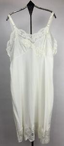 Vtg  Aristocraft Womens Full Slip Nylon Lace Accents Ivory USA Size 36