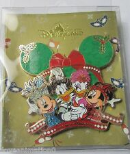 Disney HKDL Christmas Jumbo Mickey Mouse Donald Duck Daisy and Minnie Japan Pin