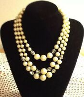 Off White VINTAGE 3 STRANDS Crystal GLASS & Plastic Pearl Bead NECKLACE JAPAN
