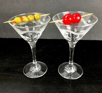 Set of 2 Etched Glass Swirl Dot Barware Martini Wine Cut Stems Clear