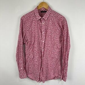 Jack London Mens Button Up Shirt Size L Pink Animal Print Long Sleeve Collared