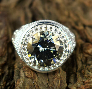 9.43 Ct Certified Gray Diamond Solitaire Halo Men's Silver High Value Ring
