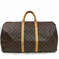 Authentic Louis Vuitton Boston Bag Keepall 55 M41424 Browns Monogram 1103481