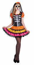 DAY OF THE DEAD SKELETON CATRINA SENORITA HALLOWEEN DRESS & VEIL COSTUME NEW 12