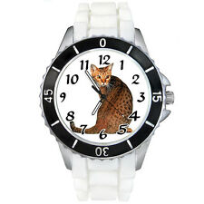 Bengal Cat White Jelly Silicone Band Mens Ladies Sports Quartz Wrist Watch Sew21