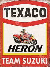 Garage, 49 Texaco Heron Motorcycle, Barry Sheen Race Team, Small Metal Tin Sign