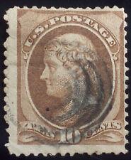 U.S. Scott # 209 used 10c brown w/o secret mark American B.N., F