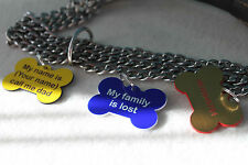 Personalized Engraved Bone Shape Pet Dog Cat Tag Id  With Ring laser engraving