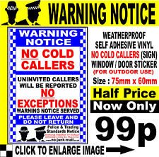 NO COLD CALLERS PRIVACY SIGN Police & Trading Standards Notice Size 60mm x 75mm