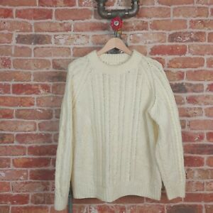 VINTAGE Mens Knitted Jumper Aran Shetland Cream Chunky Cable Hand Knit XL 80s