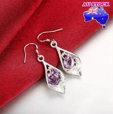 Wholesale 925 Sterling Silver Filled Retro Dangle Earrings With Purple Zircon
